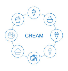 8 cream icons vector image