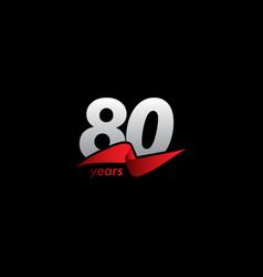 80 years anniversary celebration white black red vector