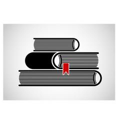a stack stacked books logo or emblem black vector image