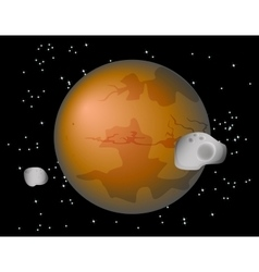 Abstract background with Mars Planet and its moons vector image