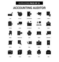 Accounting auditor glyph icon set vector