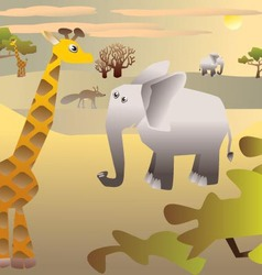 African Savannah and animals vector