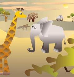 African savannah with animals - elephant giraffe vector