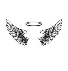 Angels wings with nimbus design element vector