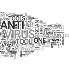 Antivirus comparison text word cloud concept vector