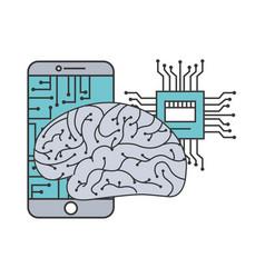 artificial intelligence brain smartphone circuit vector image