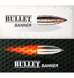 Banner of flying bullet ob military background vector image