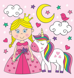 beautiful little princess with unicorn vector image