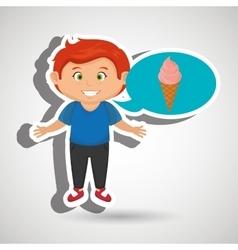 boy cartoon ice cream vector image