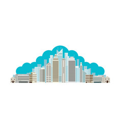 Buildings and skyscrapers cloud background vector