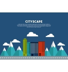 buildings cityscape skyline icon vector image