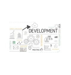 Business template page with icons of development vector