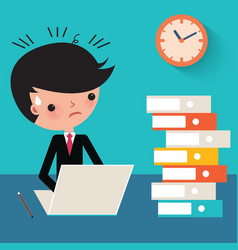 Busy businessman at work cartoon vector image