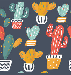 cactuses hand drawn background vector image