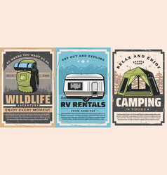 camping tent tourist backpack rv trailer travel vector image