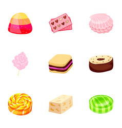 caramel candy icon set cartoon style vector image