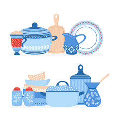 cartoon cookware kitchen crockery cooking tools vector image