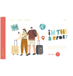 characters with luggage boarding on airplane vector image