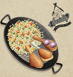 Chicken paella dish vector