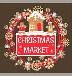 Christmas market with gingerbread house and men vector