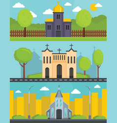 Church building banner concept set flat style vector