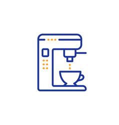 Coffee maker line icon vending machine sign make vector