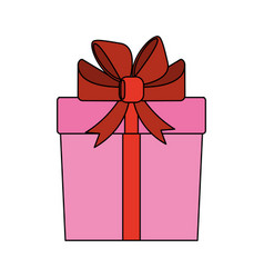 color image cartoon giftbox with wrapping bow vector image