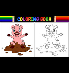 coloring book cartoon pig play in a mud puddle vector image