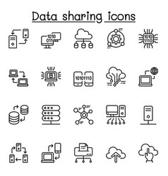 computer network sharing data icon set in thin vector image