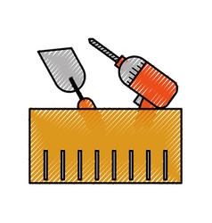construction box with drill spatula tools vector image