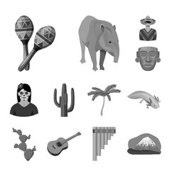 country mexico monochrome icons in set collection vector image