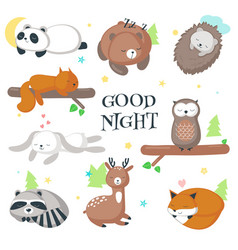 Cute sleeping wild animals icon set vector