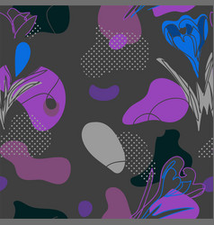 dark colorful pattern with flowers vector image