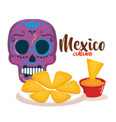Day of the dead mask with mexican food vector