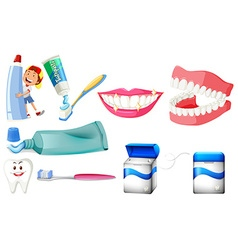 Dental set with boy and clean teeth vector image