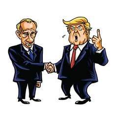 Donald trump shakes hands with vladimir putin vector