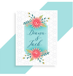 elegant wedding invitation card template vector image