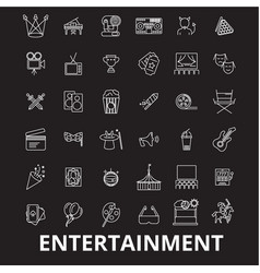 entertainment editable line icons set on vector image