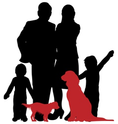 Family and dogs vector