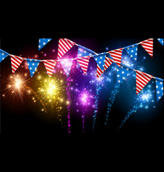 festive background with american flags vector image