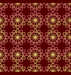 fine red and yellow patterns on dark red vector image