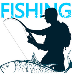 Fisherman and fish on hook vector