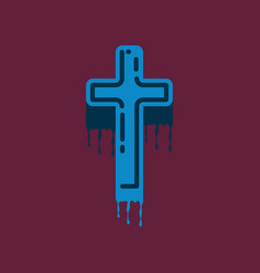 Flat icon on background of cross the blood vector