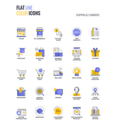 Flat line multicolor icons design-shopping and e vector