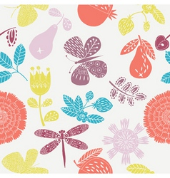 floral fruits pattern vector image