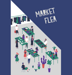 flyer or poster template for flea market or rag vector image