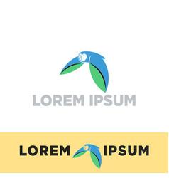 Flying owl bird logo template icon elements vector