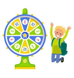 Fortune wheel and boy winner jumping money win vector