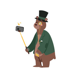 funny picture bear photographer mamal person take vector image