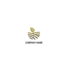 green farm organic leaf company logo vector image
